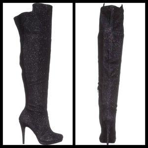 Thalia Sodi Over-The-Knee Metallic Boot Size 8.5